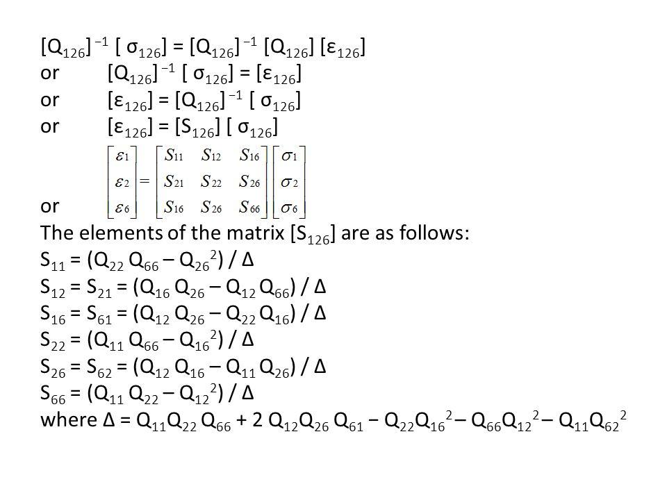 [Q126] −1 [ σ126] = [Q126] −1 [Q126] [ε126] or [Q126] −1 [ σ126] = [ε126] or [ε126] = [Q126] −1 [ σ126]